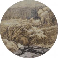 中国烙画大师林伟烙画--《壶口》圆心系列  巧夺天工 作品1 40*40cm