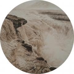 中国烙画大师林伟烙画--《壶口》圆心系列  宏伟气势 作品5 57*57cm
